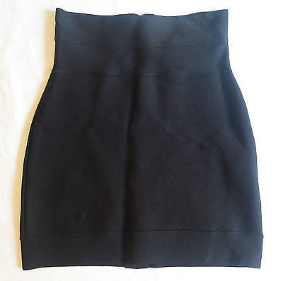 ~ HERVE LEGER HIGH-WAISTED BLACK BANDAGE MINI SKIRT (A CLASSIC) ~ XS