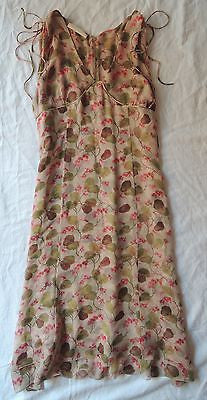 ~ VALENTINO IVY & FLORAL PRINT SILK SLEEVELESS DRESS (STUNNING!) US  8 / 10