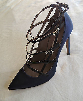 TABITHA SIMMONS BLUE SATIN BUCKLE JOSEPHINA PUMPS