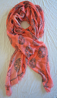 ~ ALEXANDER MCQUEEN PEACHY PINK CASHMERE MODAL SKULL PRINT SCARF / WRAP  ~