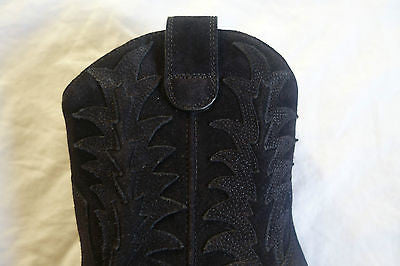 NEW $1.6K SAINT LAURENT YSL BLACK SUEDE EMBROIDERED WESTERN BOOTS / BOOTIES   37