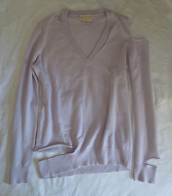 MICHAEL KORS COLLECTION LAVENDER CASHMERE CUT OUT SWEATER