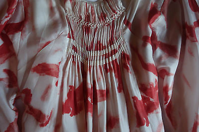 ~ SKAIST TAYLOR RED & WHITE WATERCOLOR BIRD PRINT BEADED SILK DRESS ~  P / XS