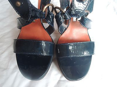 ~ LANVIN NAVY PATENT LEATHER PLATFORM SANDALS / HEELS  (THE HOTTEST EVER!) ~ 39