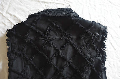 ~ ISABEL MARANT BLACK DENIM GARSON FRAYED FRINGE TRIM VEST ~ 38