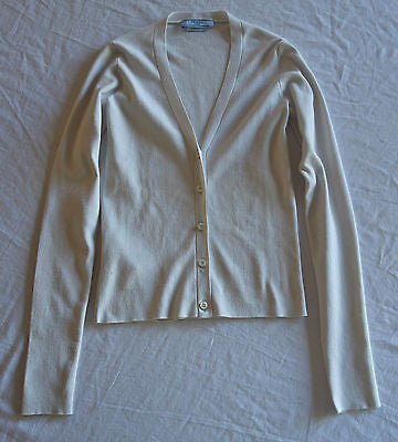~  PRADA STONE GRAY SILK WOVEN KNIT CARDIGAN SWEATER (A LUXE STAPLE!) 40