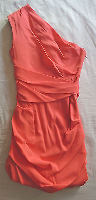 ~NWT MATTHEW WILLIAMSON CORAL ONE SHOULDER RUCHED DRESS (HOT COLOR!) ~ UK 8