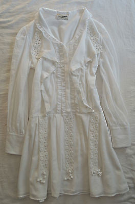 ~$5.3K SAINT LAURENT WHITE COTTON MACRAME PEASANT DRESS (SO ADORBS!) ~F  40