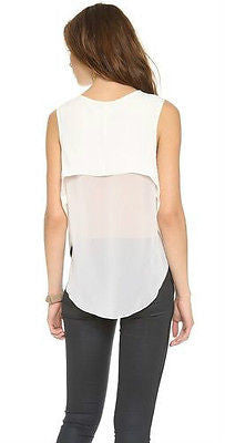~NWT RAG & BONE ANTIQUE WHITE CUT-OUT BACK FLEET SLEEVELESS TOP (SEXY COOL!) M