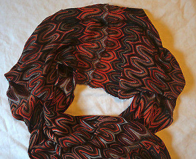 ~ MISSONI ORANGE & BROWN CHEVRON KNIT LONG SCARF / WRAP (FOREVER CLASSIC!) ~