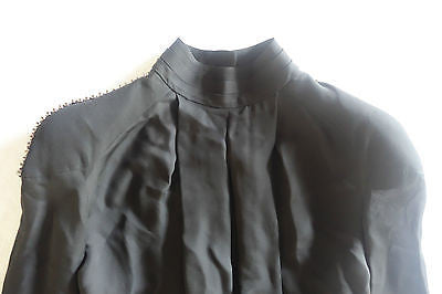 ~NWT PIERRE BALMAIN BLACK JEWELED SHOULDER BLOUSE TOP (PARISIAN CHIC)~ 34