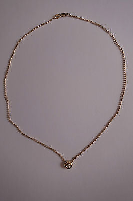 ~ 18 KARAT YELLOW GOLD & SOLITAIRE DIAMOND CHAIN CHOKER NECKLACE FROM ROSEARK  ~