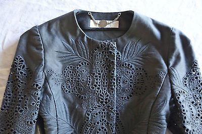 ~ STELLA MCCARTNEY GRAY EMBROIDERED EYELET JACKET (DAY TO NIGHT CHIC!) ~ 40