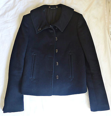 ~ GUCCI BLACK CASHMERE WOOL A-LINE JACKET / COAT (FOREVER CLASSIC!) ~ IT 42 US 6