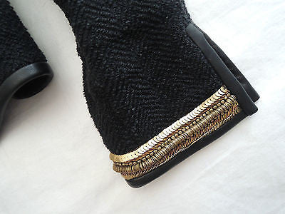 ~ ISABEL MARANT BLACK BOUCLE LINEN & GOLD SEQUIN LEATHER TRIM JACKET (LOVE!)  38