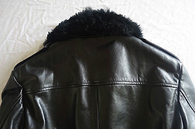 ~$3K GUCCI UNISEX BLACK LEATHER & SHEARLING BOMBER JACKET / COAT  ~  46