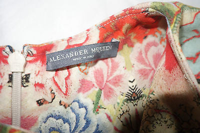 ~ $3.5K ALEXANDER MCQUEEN FLORAL KALEIDOSCOPE PRINT SLEEVELESS DRESS  ~ 42