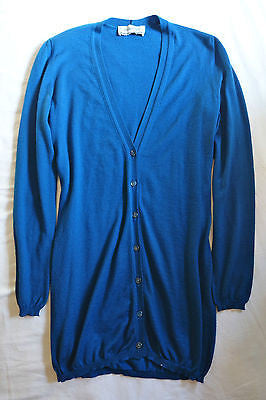 YVES SAINT LAURENT YSL BLUE CASHMERE & SILK CARDIGAN SWEATER (PURE LUXURY)  ~ M