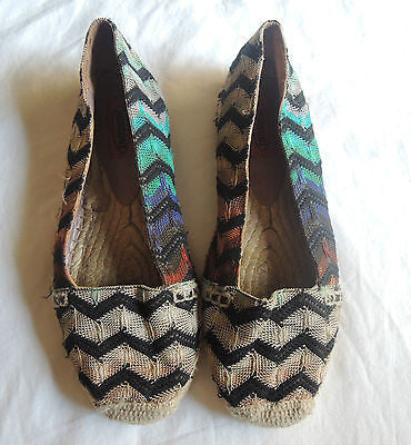 ~ MISSONI ORANGE LABEL CHEVRON PATTERN ESPADRILLES / FLATS ~ 37.5