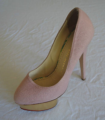 ~ CHARLOTTE OLYMPIA PINK LINEN & GOLD DOLLY PLATFORM PUMPS / HEELS   ~ 37.5
