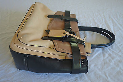 REED KRAKOFF BLACK BROWN & NUDE TRICOLOR LEATHER BOXER TOTE BAG