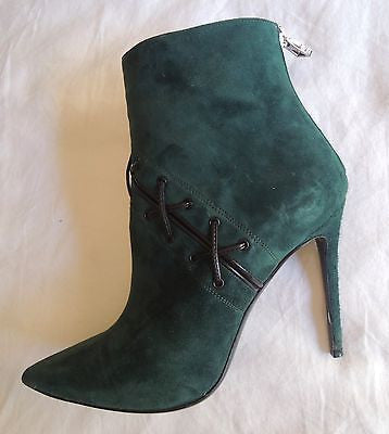 ~ BARBARA BUI EMERALD GREEN SUEDE POINTED TOE ANKLE BOOTS / BOOTIES ~  37.5