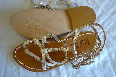 NEW K JACQUES ST. TROPEZ METALLIC GOLD GLADIATOR FLAT SANDALS  (VACAY MUST!) 37