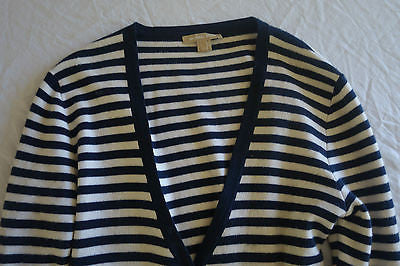 ~ MICHAEL KORS NAVY STRIPED CASHMERE CARDIGAN / SWEATER COAT (OH SO COZY!)~ M
