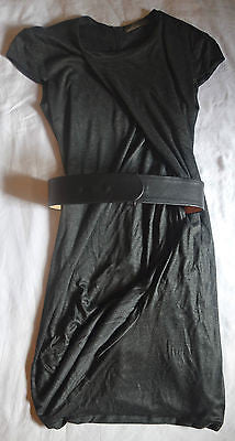~ ALEXANDER MCQUEEN GRAY & LEATHER BELTED JERSEY DRESS (IOMG OMG!) 38