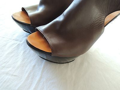 ~ LANVIN BROWN LEATHER & LUCITE LATFORM WEDGES / HEELS (LOVE!) ~ 38