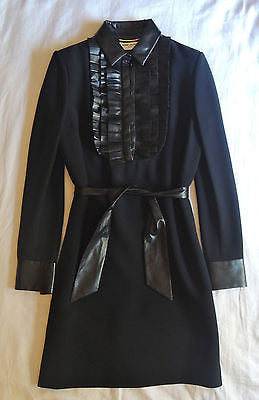 SAINT LAURENT BLACK LEATHER TRIM BELTED TUXEDO DRESS