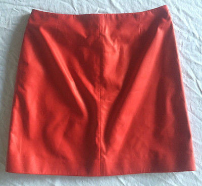 ~ MIU MIU / PRADA RUBY RED LEATHER A-LINE SKIRT (TOTALLY OBSESSED) ~ 40