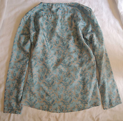 ~ CALYPSO BLUE & GRAY LIBRA FLORAL PRINT PEASANT BLOUSE TOP (SO BOHO CHIC!)~ M
