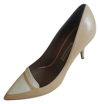 ~ TABITHA SIMMONS NUDE / WHITE LEATHER ALEXA LOAFER PUMPS / HEELS  (DIVINE!) 39