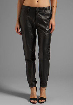 ~$995 RAG & BONE BLACK LAMBSKIN LEATHER TAPERED TROUSER PANTS  (OH SO COOL!)~ 25