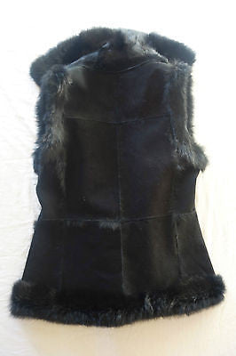 ~ AQUA BLACK SUEDE & RABBIT FUR REVERSIBLE VEST  (ROCKSTAR GLAM!) ~ S / M