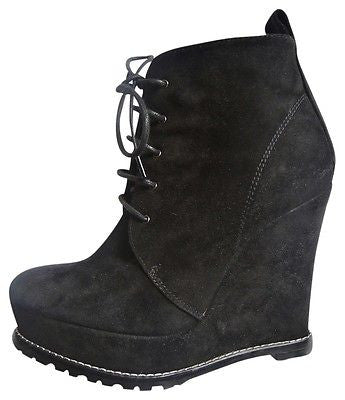 ~ BARBARA BUI BLACK SUEDE LACE UP WEDGE ANKLE BOOTS / BOOTIES (BEYOND!)  ~ 36