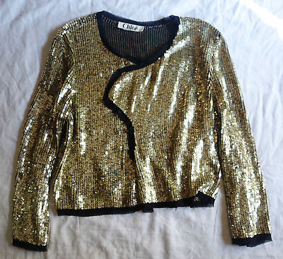 ~ CHLOE GLIMMERY GOLD SEQUIN JACKET (INSANELY SPECIAL!)  ~ 40