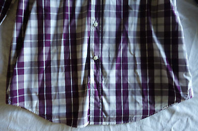~ BRUNELLO CUCINELLI PURPLE AND WHITE PLAID BUTTON-DOWN SHIRT ~ S