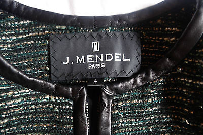 ~$2K J. MENDEL GREEN TWEED BOUCLE LEATHER TRIM JACKET (DIVINE!) ~ US 4