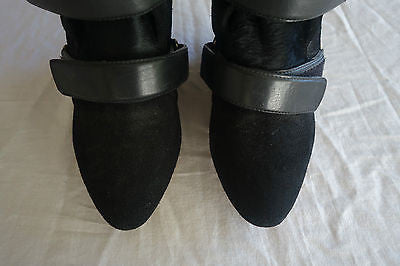 ISABEL MARANT BLACK PONY & SUEDE VELCRO SCARLET BOOTS / BOOTIES