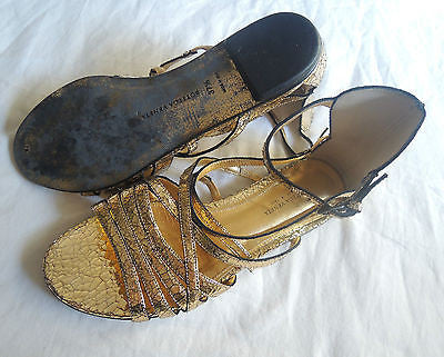 ~AUTHENTIC BOTTEGA VENETA GOLD LEATHER GLADIATOR SANDALS (LOVE THESE!) ~ 37.5