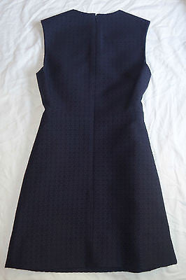 ~  CELINE NAVY TEXTURED JACQUARD SLEEVELESS DRESS (INSANELY PRETTY!) 38