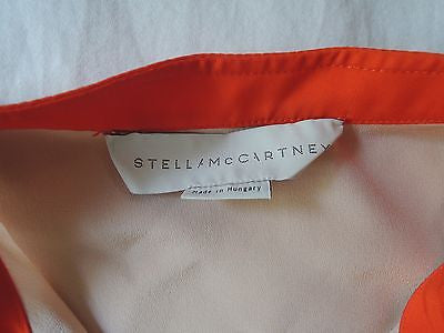 ~$795 STELLA MCCARTNEY BLUSH NUDE SILK  BLOUSE TOP W/ ORANGE TRIM ~  38