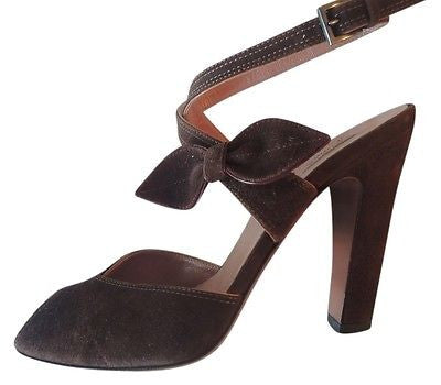 ~ ALAIA BROWN SUEDE CRISS CROSS STRAP BOW HEELS (OHHH SO CHIC!) 37.5
