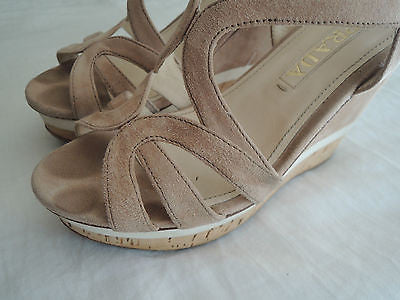 ~ PRADA NUDE SUEDE & CORK SOLE PLATFORM WEDGES / HEELS (PURE LOVE!) ~ 37