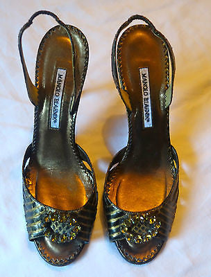~NEW MANOLO BLAHNIK METALLIC PYTHON JEWELED D'ORSAY HEELS (SO CARRIE B!)~ 40.5