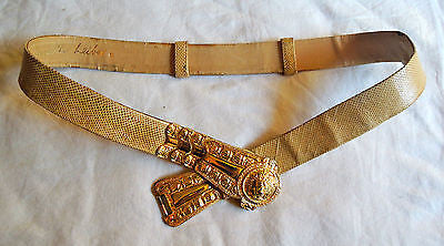 VINTAGE JUDITH LEIBER LIZARD & SCULPTED GOLD LION BELT (STATEMENT MAKING!) ~