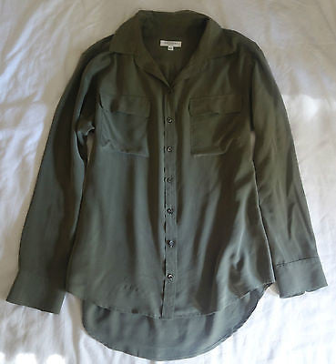 ~ EQUIPMENT FEMME OLIVE GREEN SILK BUTTON DOWN BLOUSE TOP ~ 38