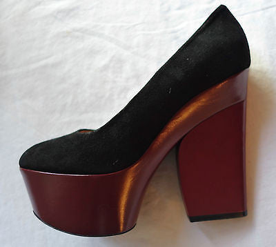 ~ CELINE BLACK SUEDE & MAROON LEATHER PLATFORMS HEELS (SO ICONIC!) ~ 38